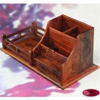 【木艺府】大红酸枝笔筒名片盒套装 商务礼品实用摆件 木质工艺品