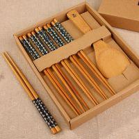 日式礼品餐具 天然竹筷子、饭勺套装 餐饮用具批发