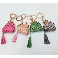 蛇纹PU皮革创意小钱夹钥匙扣 包包挂饰 流苏创意小饰品钥匙扣可爱
