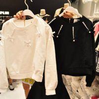 韩国代购2014东大门秋冬新款短款卫衣套头长袖钉珠甜美上衣打底衫
