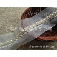 [厂家直销]钉珠花边条码 手工珠绣花边 珍珠花边 手工串珠花边