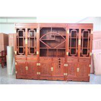 东阳红木家具厂家直销非洲花梨/缅甸花梨扇形三组合书柜 红木书柜价格