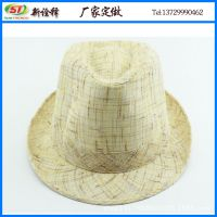 外贸出口草编定型帽 男女士户外遮阳沙滩太阳帽 时尚巴拿马绅士帽