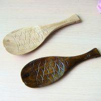 日式复古饭铲勺子 厨房楠木鱼形木制饭勺 烹饪勺铲用具