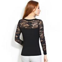 2014秋装新款蕾丝长袖打底衫 纯色修身显瘦T恤 蕾丝衫 女2045