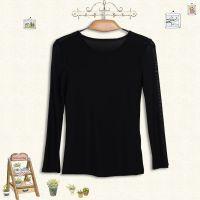 2014秋季新款品牌女装 修身圆领网纱打底衫 黑色简约长袖打底衫