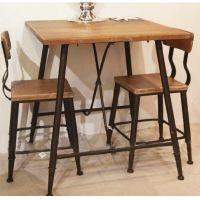 可定做 美式乡村餐桌餐椅组合餐厅餐桌椅实木桌椅铁艺餐桌 供应