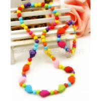韩版儿童配饰幼儿童项链手链宝宝彩色珠子草梅两件套XL-059