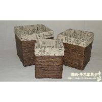 植物编织工艺品 手工编织收纳 玉米皮编织收纳筐 脏衣篓 洗衣篮
