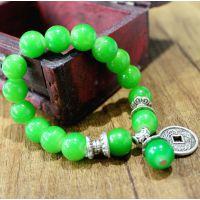 仿真绿翡翠串珠手链 原石异域风情手工制作 佛珠 手链