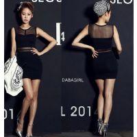 速卖通 外贸原单 韩国新款夏装时尚性感透视网纱拼接无袖连衣裙女