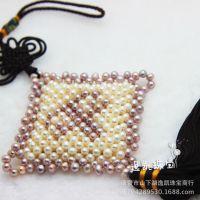 天然珍珠饰品车挂件 平安字样中国结珍珠车饰 平安珍珠汽车挂件