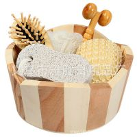 田园风格 木桶五件套 卫浴套装 家居卫浴套件 时尚家居用品