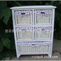 雨露家具公司现货销售白色田园风格实木柜子 批发木制储物柜