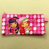 迪士尼 草莓女孩 粉色可爱笔袋牛津布拉链袋 B6学生学习文具袋子