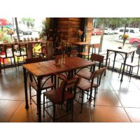 loft美式乡村铁艺餐桌椅 实木桌椅 复古饭桌 高档餐厅实用桌