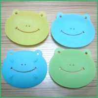 创意新款浴室沥水防滑香皂垫 卡通青蛙可爱肥皂架 圆形硅胶香皂盒