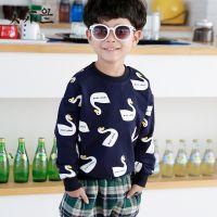 春款新品韩版童打底衫 2015时尚满印小鸭男童长袖T恤 中大童卫衣