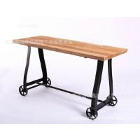 铁艺实木餐桌美式乡村可移动餐桌长方形餐桌餐厅边桌客厅玄观桌