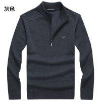 供应秋冬新款羊毛衫男士 商务纯色立领羊毛毛衣 羊毛打底衫大码 批发