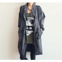 2014韩国东大门代购同款 秋季新品时尚休闲立领牛仔大衣外套