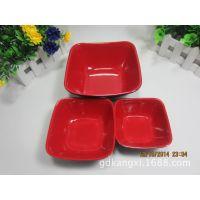 耐高温红黑四方碗密胺餐具A5饭碗仿瓷汤碗塑料碗酒店餐馆连锁专用