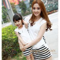 2014夏季新款亲子装 母女装 女宝宝 条纹 t恤 连衣裙 两件套 C680