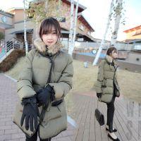 韩国代购 2014冬装新款韩版中长款修身韩版羽绒棉大衣外套 女203