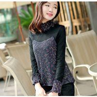 韩版时尚蕾丝毛衣拼接假2件牛奶丝抓绒上衣木耳花边立领打底衫厚