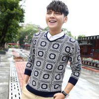 14新款韩版男士v领套头针织衫 时尚修身百搭长袖打底衫 毛衣2016