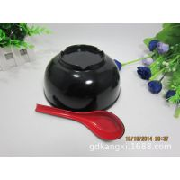 耐高温密胺餐具红黑A5仿瓷直口碗红黑面碗塑料碗粥碗餐馆连锁