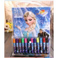 迪士尼DISNEY 冰雪奇缘FROZEN 公主卡通水彩笔儿童填色图画册文具