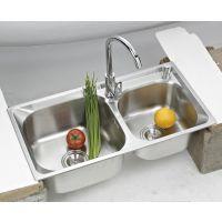 新款 斜边双槽不锈钢洗手池水槽 一体成型洗涤槽7540拉伸集成水槽