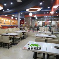 【新款定做】青岛人造石中餐厅火锅桌椅组合 欧式自助火锅桌 实惠