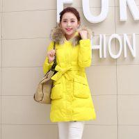 韩版2014冬季大毛领中长款收腰羽绒服修身女装加厚外套
