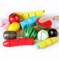 特大号木制桶装儿童仿真水果蔬菜切切乐 宝宝果蔬食物切切看玩具