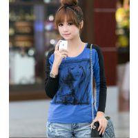 2013秋装新款韩版女装显瘦长袖T恤宽松大码女士潮打底衫