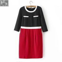 2014秋冬季新款 时尚大片 3色拼接八分袖显瘦毛呢连衣裙5362