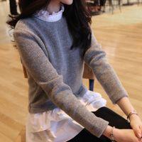秋装新款羊毛打底衫女装假两件韩版荷叶边中长款修身针织衫