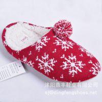 批发新款加厚棉拖鞋 居家秋冬季拖鞋时尚家居厚底毛线针织DFSJ035