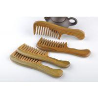 厂家供应 绿檀木大齿梳 宽齿卷梳子 天然木质防静电 护发保健梳子