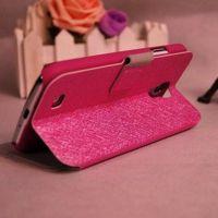 厂家直销 三星i9500S4蚕丝纹手机皮套 带支架功能 K270