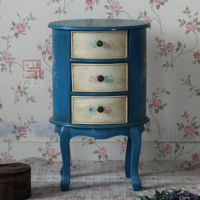 美式乡村地中海蓝色仿古做旧纯手绘椭圆斗柜电话台角几边几