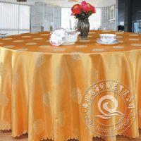 橙色时尚欧式餐桌台布 餐厅布草高档提花台布 酒店圆形桌布