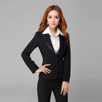 2014新款职业女套装 修身套装OL面试装女式黑色西装工作服小西装