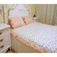 夏季清凉必备全棉布加蕾丝床裙小碎花床裙