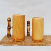 巨匠厂家定制中式环保竹子带把竹杯水杯茶杯咖啡竹杯茶具酒具