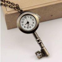 爆款手表创意钥匙项链挂件 复古挂表批发 古铜钥匙挂表 光边钥匙