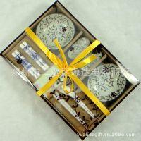 厂家创意餐具竹筷子碟子彩盒礼品套装结婚回礼商务回赠带提袋