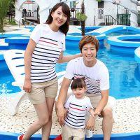 亲子装夏装全家装 母女t恤短袖条纹2014新款韩版 免费批发加盟